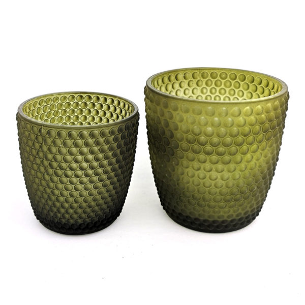 Grön matt ljuslykta stor liten 600x600 - Ljuslykta, Mossgrön, Matt Glas